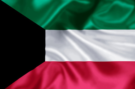 Kuwait waving and closeup flag illustration. Perfect for background or texture purposes.