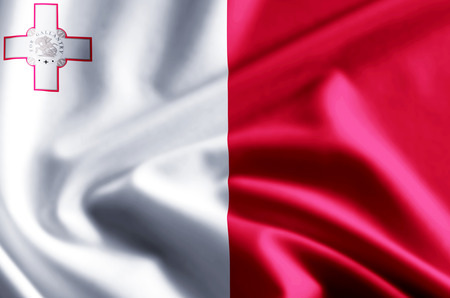 Malta 3D waving and closeup flag illustration with reflections. Usable for background and texture. 스톡 콘텐츠