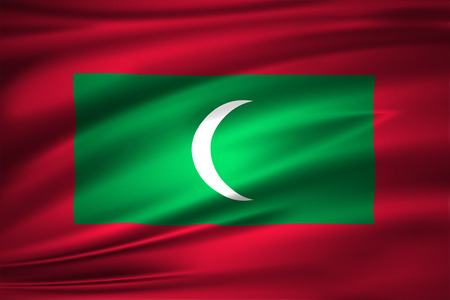 Maldives 3D waving flag illustration. Texture can be used as background. 写真素材
