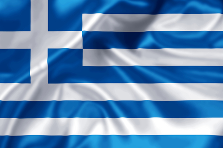 Greece waving and closeup flag illustration. Perfect for background or texture purposes.