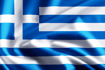 Greece 3D waving and closeup flag illustration with reflections. Usable for background and texture. Stock Photo