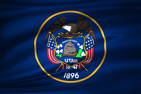 Utah 3D waving flag illustration. Texture can be used as background. 版權商用圖片 - 110624039