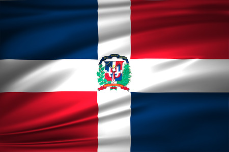 Dominican republic 3D waving flag illustration. Texture can be used as background.