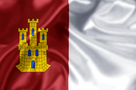Castilla La Mancha waving and closeup flag illustration. Perfect for background or texture purposes. Imagens