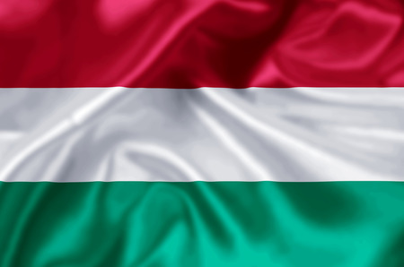 Hungary waving and closeup flag illustration. Perfect for background or texture purposes. Foto de archivo