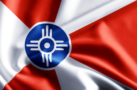 Wichita Kansas 3D waving and closeup flag illustration with reflections. Usable for background and texture. Stock Photo