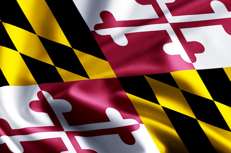 Maryland 3D waving and closeup flag illustration with reflections. Usable for background and texture.