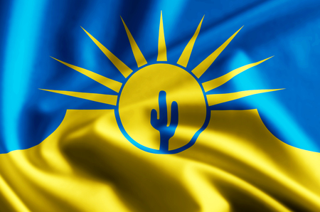 Mesa Arizona 3D waving and closeup flag illustration with reflections. Usable for background and texture.