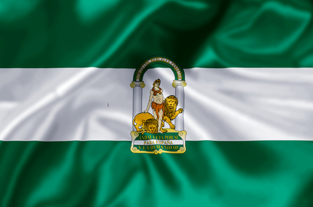 Andalucia waving and closeup flag illustration. Perfect for background or texture purposes.