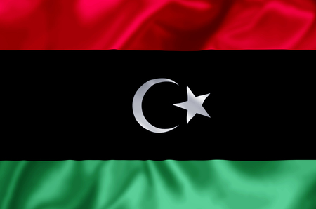 Libya waving and closeup flag illustration. Perfect for background or texture purposes.