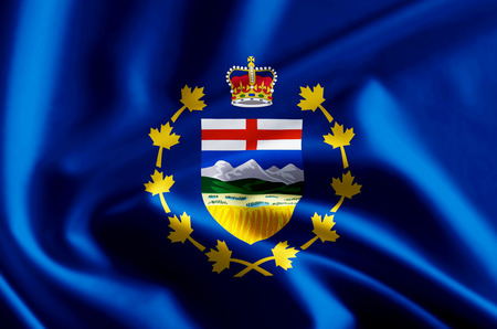 Lieutenant-Governor Of Alberta 3D waving and closeup flag illustration with reflections. Usable for background and texture.