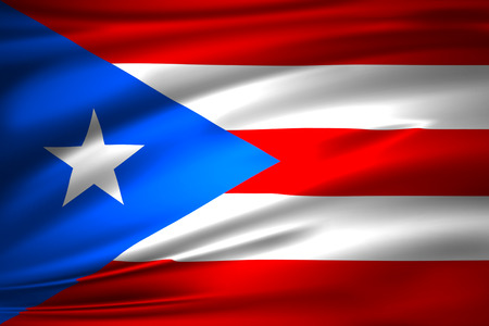 Puerto rico 3D waving flag illustration. Texture can be used as background.