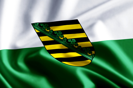 Saxony  3D waving and closeup flag illustration with reflections. Usable for background and texture.