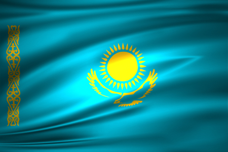 Kazakhstan 3D waving flag illustration. Texture can be used as background. 스톡 콘텐츠