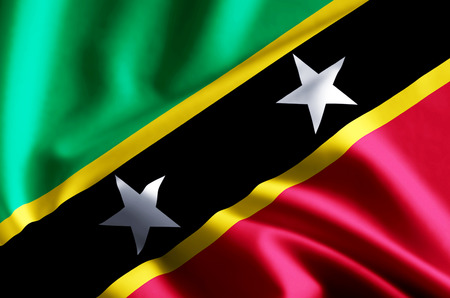 St. kitts and nevis 3D waving and closeup flag illustration with reflections. Usable for background and texture.