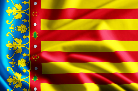 Valencia 3D waving and closeup flag illustration with reflections. Usable for background and texture.