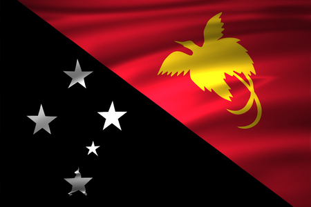 Papua New Guinea 3D waving flag illustration. Texture can be used as background.