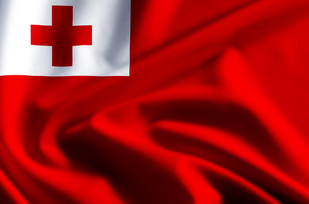 Tonga 3D waving and closeup flag illustration with reflections. Usable for background and texture. Stock Photo