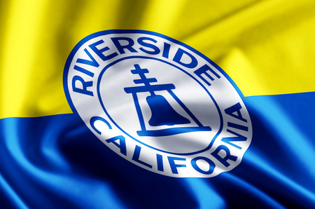 Riverside California 3D waving and closeup flag illustration with reflections. Usable for background and texture.