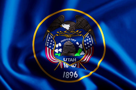 Utah 3D waving and closeup flag illustration with reflections. Usable for background and texture.