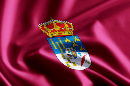 Salamanca 3D waving and closeup flag illustration with reflections. Usable for background and texture. Stock Photo