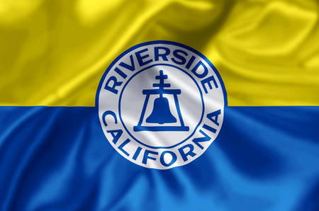 Riverside California waving and closeup flag illustration. Perfect for background or texture purposes.