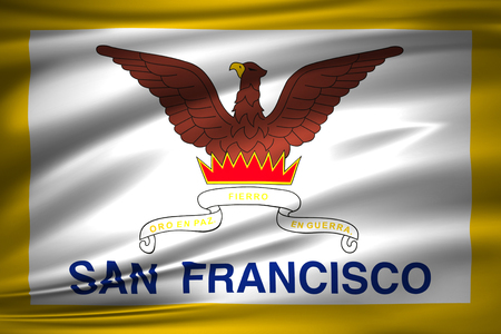 San Francisco 3D waving flag illustration. Texture can be used as background. 写真素材 - 110621416