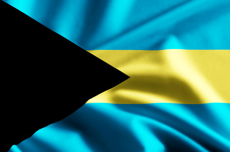 Bahamas 3D waving and closeup flag illustration with reflections. Usable for background and texture.