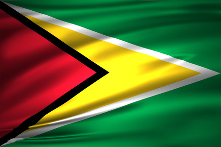 Guyana 3D waving flag illustration. Texture can be used as background.