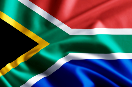 South Africa 3D waving and closeup flag illustration with reflections. Usable for background and texture. Imagens