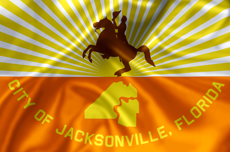 Jacksonville Florida waving and closeup flag illustration. Perfect for background or texture purposes. Stock Illustration - 110618435