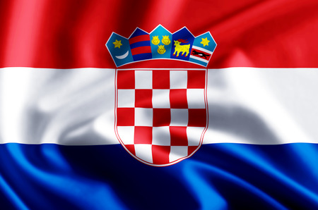 Croatia 3D waving and closeup flag illustration with reflections. Usable for background and texture. Stock Photo