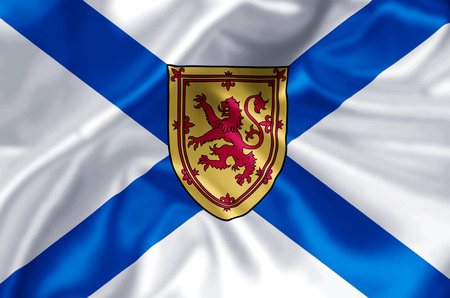 Nova Scotia waving and closeup flag illustration. Perfect for background or texture purposes.