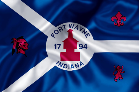 Fort Wayne Indiana waving and closeup flag illustration. Perfect for background or texture purposes.