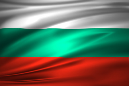 Bulgaria 3D waving flag illustration. Texture can be used as background. Stock Photo
