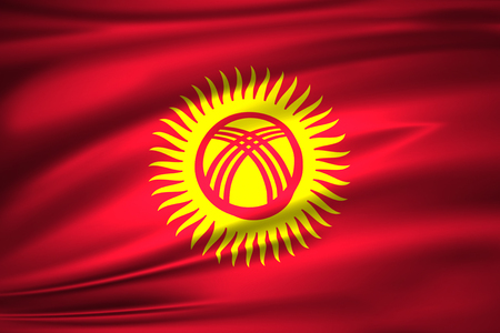 Kyrgyzstan 3D waving flag illustration. Texture can be used as background.