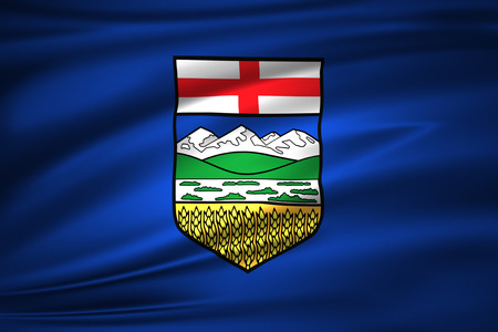 Alberta 3D waving flag illustration. Texture can be used as background. Imagens