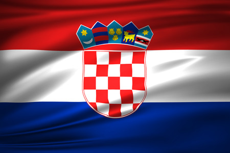 Croatia 3D waving flag illustration. Texture can be used as background. Stock Illustration - 110619593