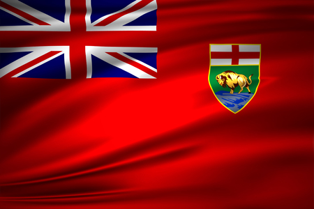 Manitoba 3D waving flag illustration. Texture can be used as background. 스톡 콘텐츠