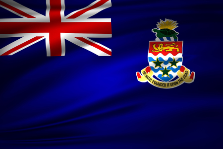 Cayman islands 3D waving flag illustration. Texture can be used as background.