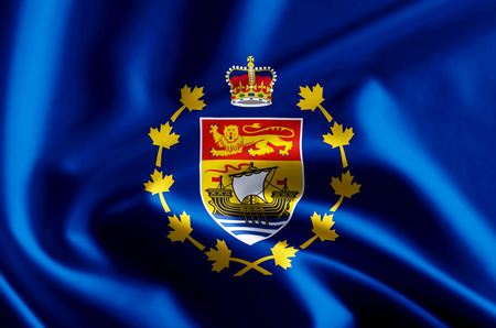 Lieutenant-Governor Of New Brunswick 3D waving and closeup flag illustration with reflections. Usable for background and texture.