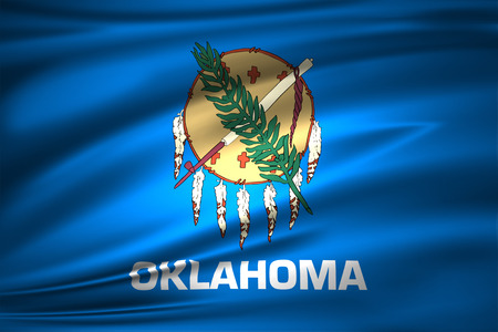 Oklahoma 3D waving flag illustration. Texture can be used as background.