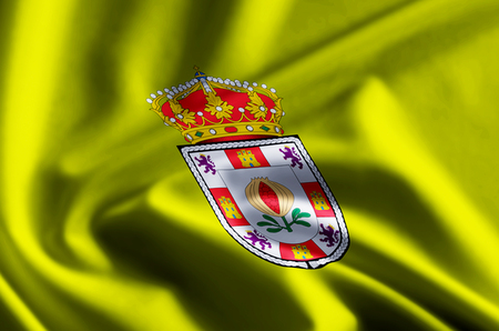 Granada 3D waving and closeup flag illustration with reflections. Usable for background and texture.