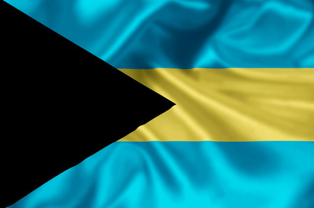 Bahamas waving and closeup flag illustration. Perfect for background or texture purposes.