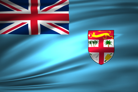 Fiji 3D waving flag illustration. Texture can be used as background. Stock Photo