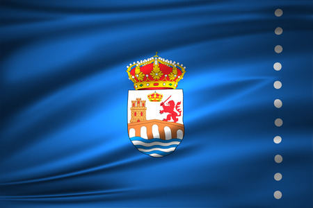 Ourense 3D waving flag illustration. Texture can be used as background.