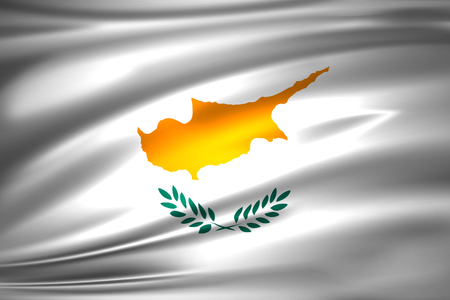 Cyprus 3D waving flag illustration. Texture can be used as background.