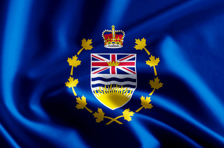 Lieutenant-Governor Of British Columbia 3D waving and closeup flag illustration with reflections. Usable for background and texture. Stock fotó