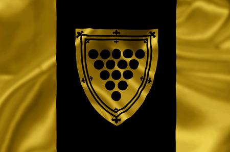 Cornwall Ontario waving and closeup flag illustration. Perfect for background or texture purposes. Banco de Imagens