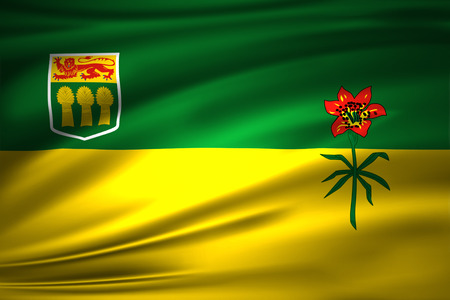 Saskatchewan 3D waving flag illustration. Texture can be used as background.